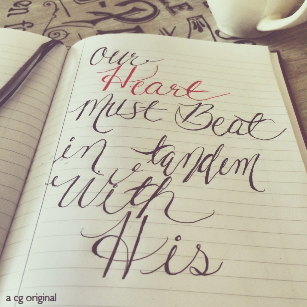 A Lysa TerKeurst quote done in faux calligraphy in Chelsey's journal.