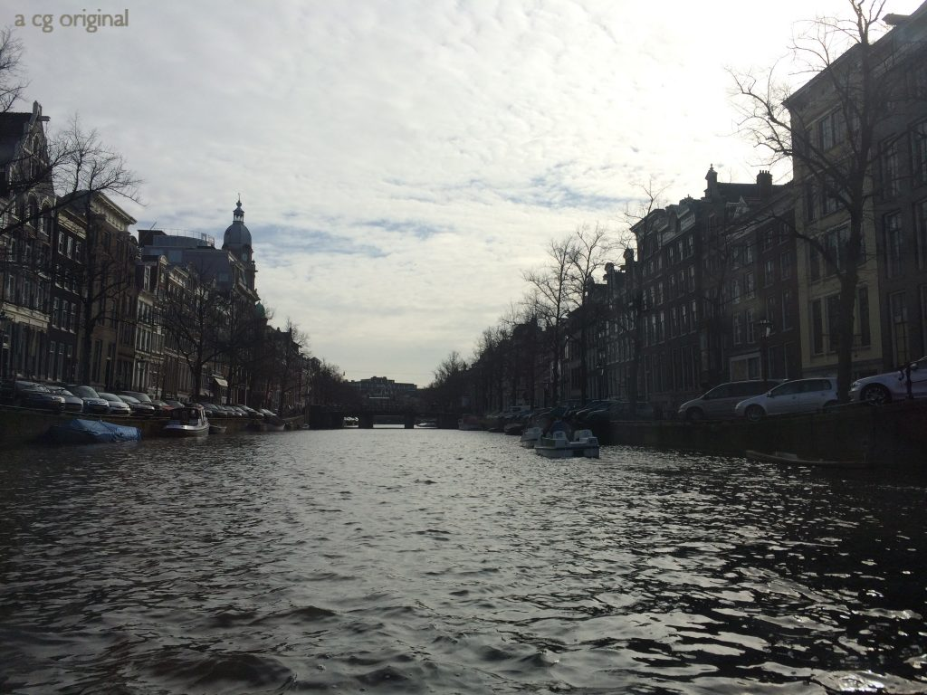 View of Amsterdam Canal from a canal tour