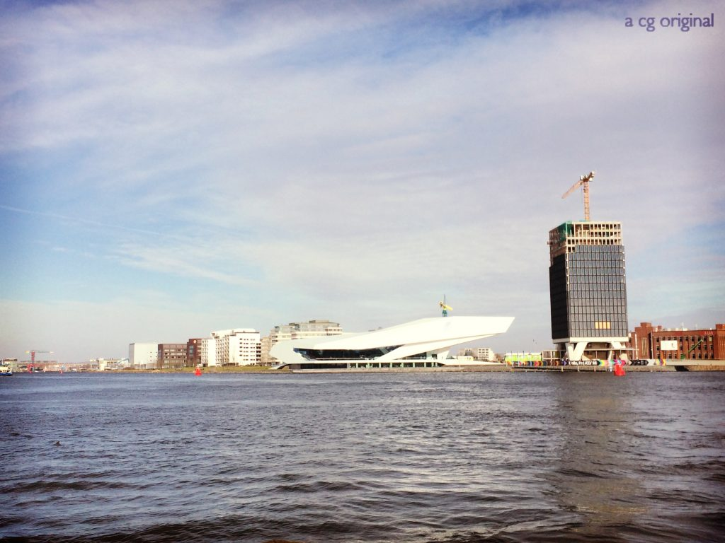 Ferry view of the EYE Film Institute.