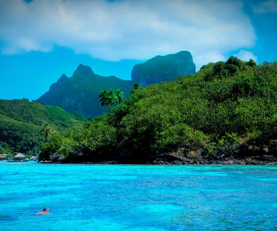 Contented Gypsy | Meandering Mondays Bora Bora Crystal Teal Lagoon and Lush Green Forest